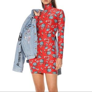Vetements Red Floral Stretch Jersey Mini Dress NWT